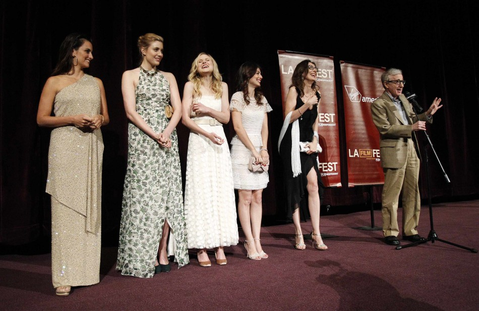 "Director Woody Allen speaks on stage alongside cast members at the premiere of ""To Rome with Love"" during the opening night of the Los Angeles Film Festival at the Regal Cinemas in Los Angeles"