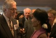 Disc jockey Dave Lee Travis was among those who met Aung San Suu Kyi during her UK visit