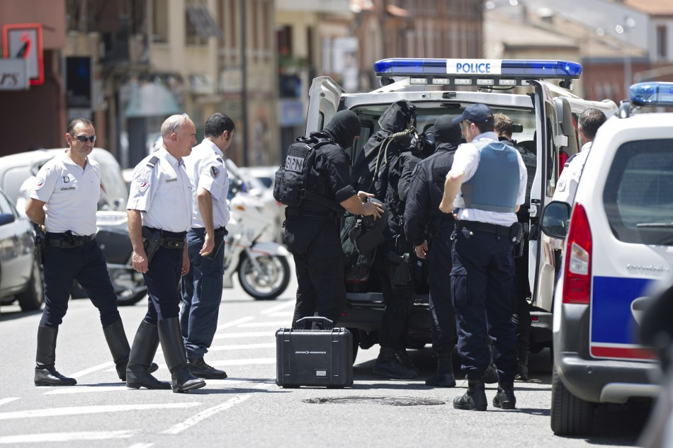 Special police units outside CIC bank in Toulouse