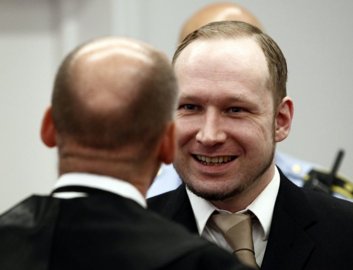 Breivik frequently smiled during court proceedings