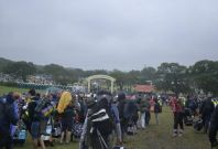 Long queues at the Isle of Wight Festival