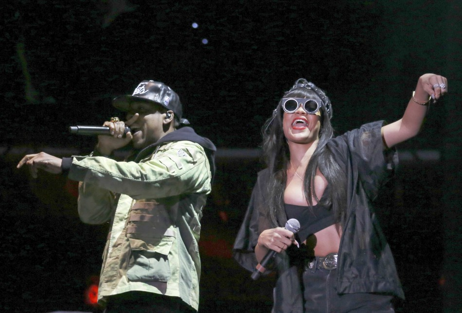 Jay Z performs, with a surprise appearance from Rihanna at the Hackney Weekender festival at Hackney Marshes in east London