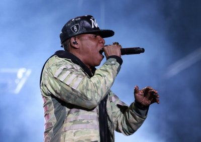 Rapper Jay Z performs at the Hackney Weekender festival at Hackney Marshes in east London