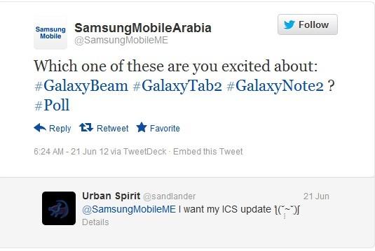 Tweet by Samsung Mobile Arabia