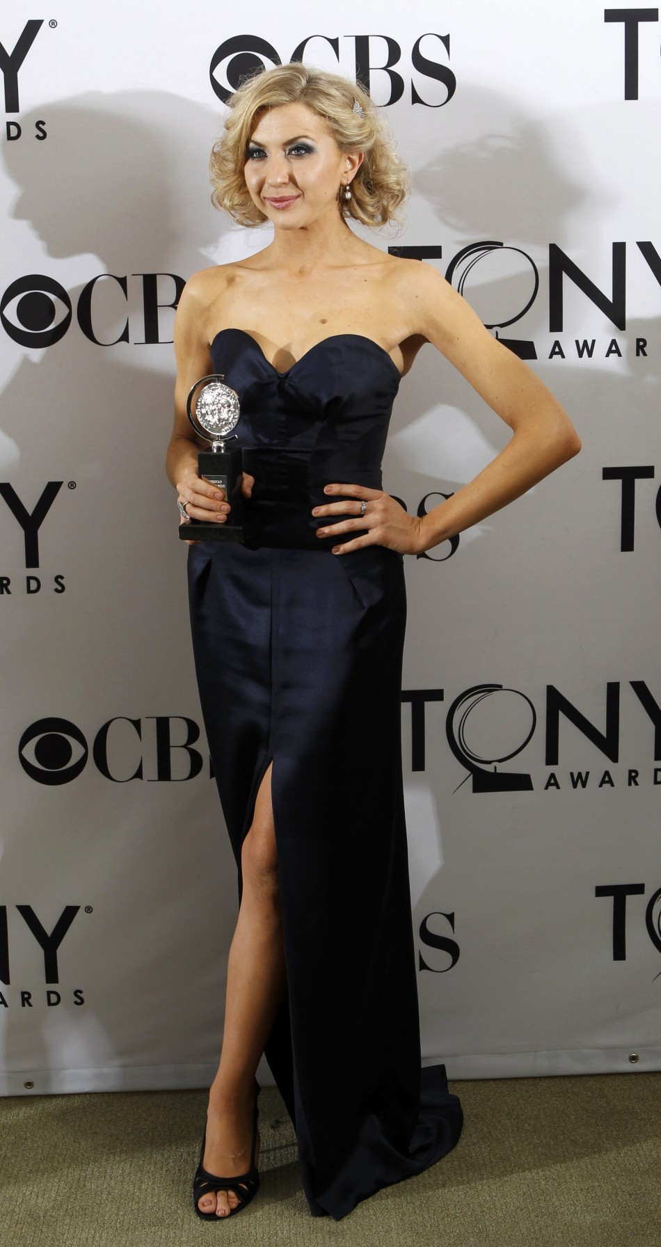 Actress Arianda celebrates after winning the Tony award for Best Performance by a Leading Actress in a Leading Role in a Play for her work in quotVenus in Furquot during the American Theatre Wings 66th annual Tony Awards in New York