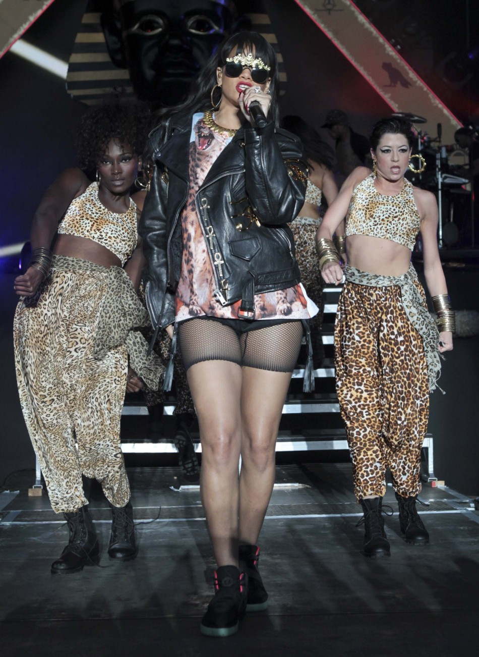 Rihanna performs at the Hackney Weekender festival at Hackney Marshes in east London