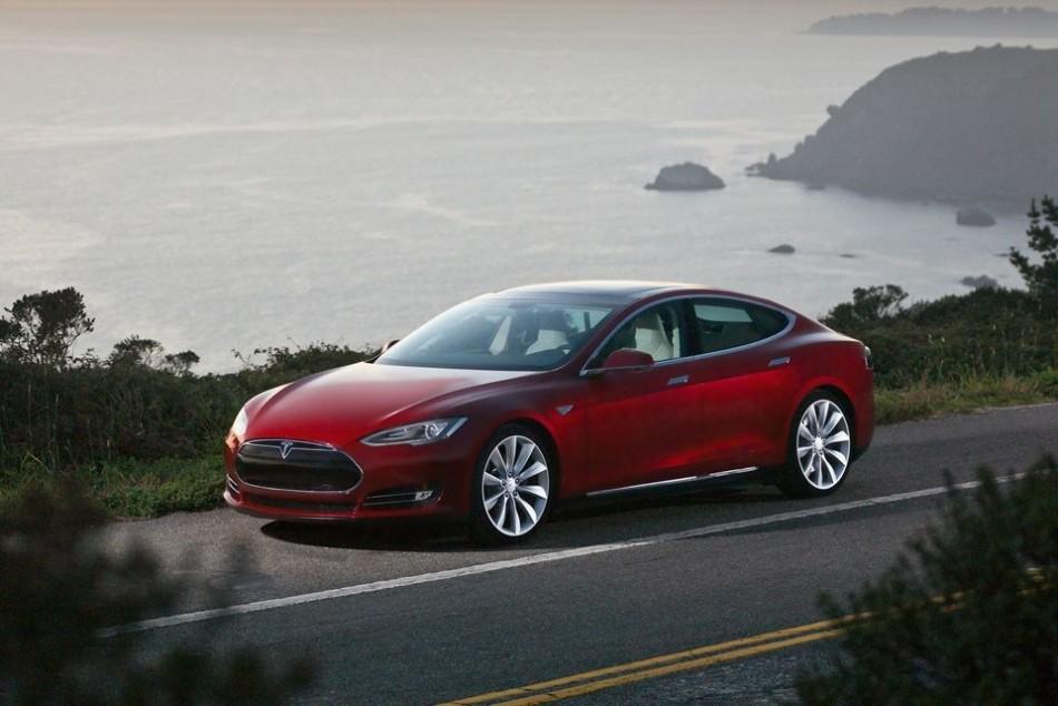 Tesla Model S Electric Sedan on the road