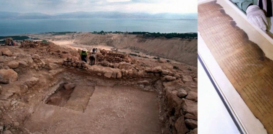 Essene settlement (L) in Qumran and the Dead Sea Scrolls (R). (Photo: REUTERS)