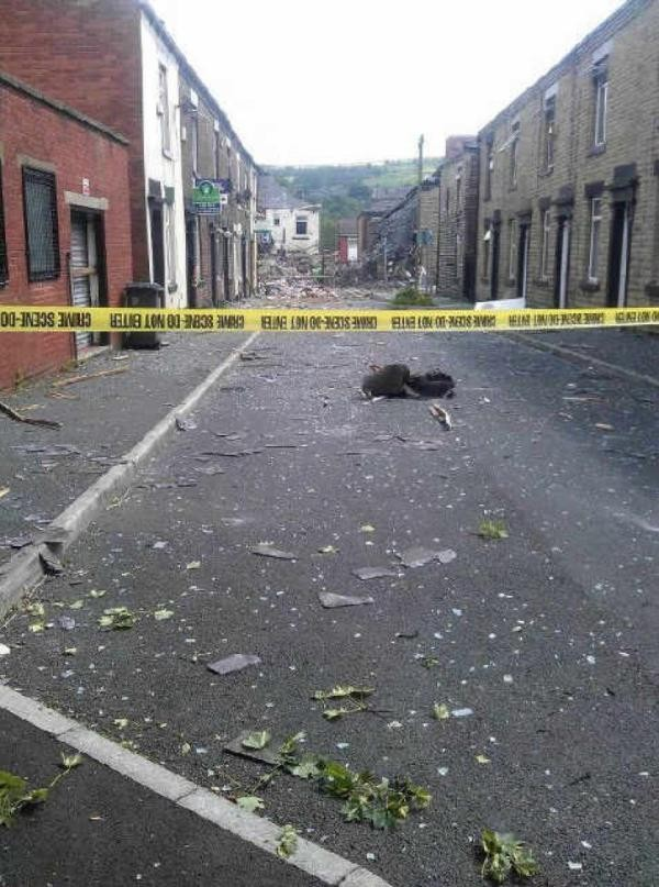 The explosion happnened on Duchess Street in Oldham. (Twitter)