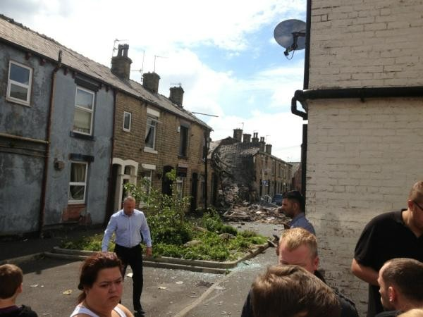 Damage to terraced homes following gas blast in Shaw area of Oldham, Greater Manchester