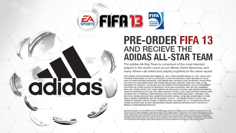 Fifa 13 preorder game adidas all star team