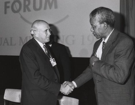 South African black anti-apartheid leader and icon Nelson Mandela and former President F.W. de Klerk.