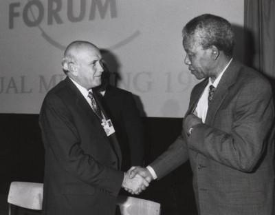 South African black anti-apartheid leader and icon Nelson Mandela and former President F.W. de Klerk.