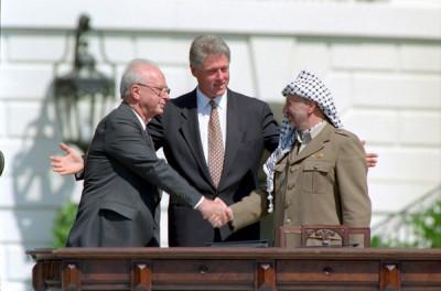 Israel Prime Minister Yitzhak Rabin and Palestinian leader Yasser Arafat