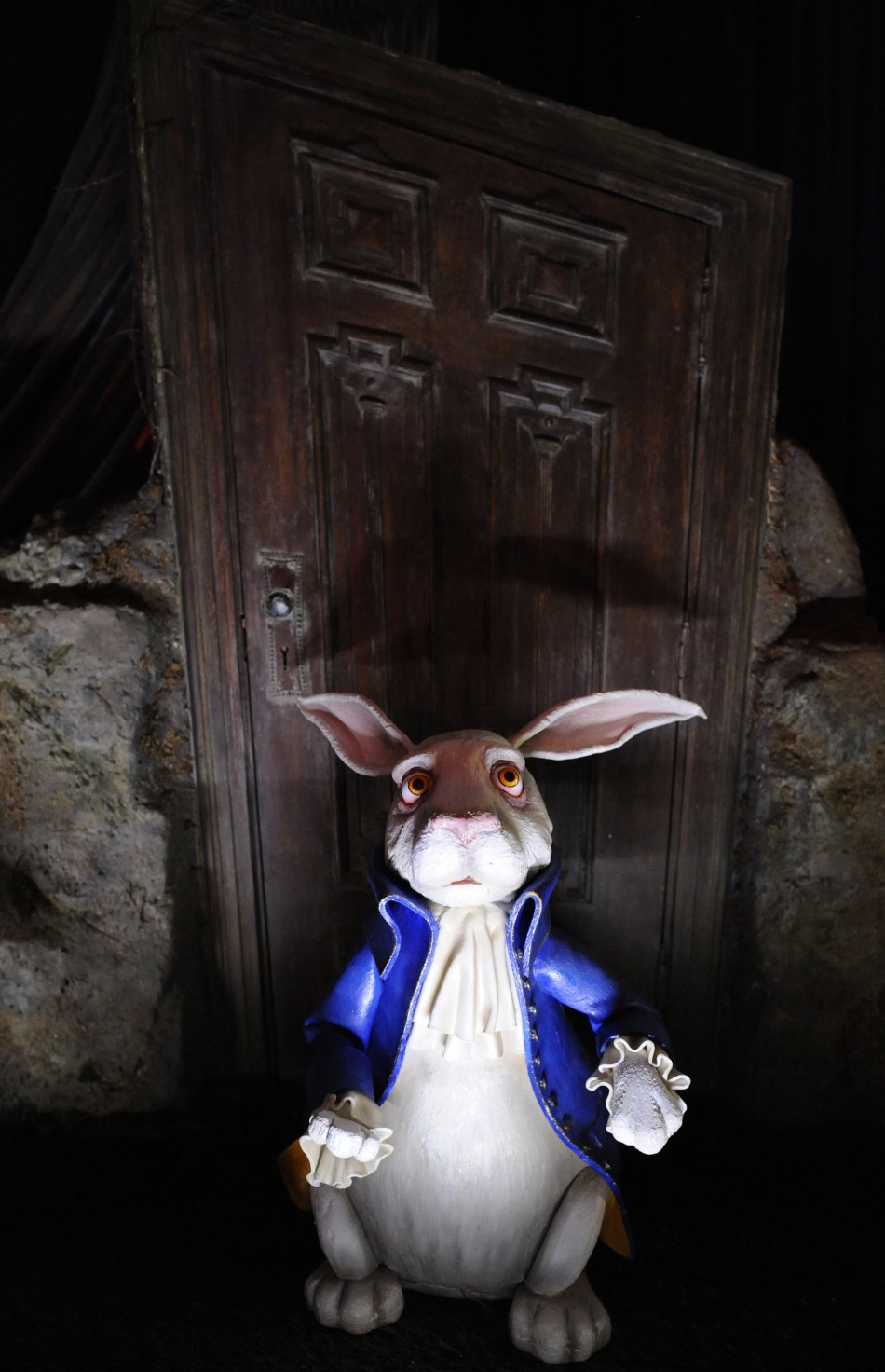 "A ""White Rabbit"" maquette from the film ""Alice in Wonderland"" is displayed at the D23 Presents Treasures of the Walt Disney Archives exhibit in California"