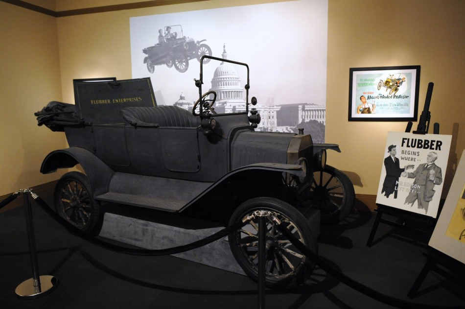"A Model T used in the film ""The Absent-Minded Professor"" is displayed at the D23 Presents Treasures of the Walt Disney Archives exhibit in California"