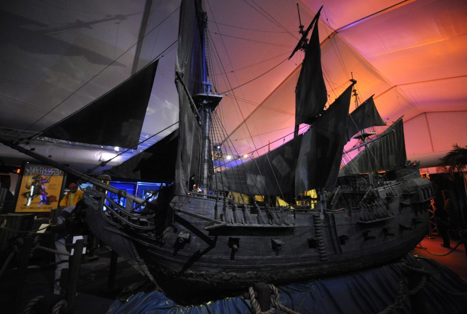 "The ""Black Pearl"" special effects filming model is on display at the D23 Presents Treasures of the Walt Disney Archives exhibit in California"