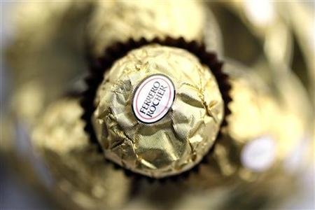 A Ferrero Rocher chocolate is seen in Milan