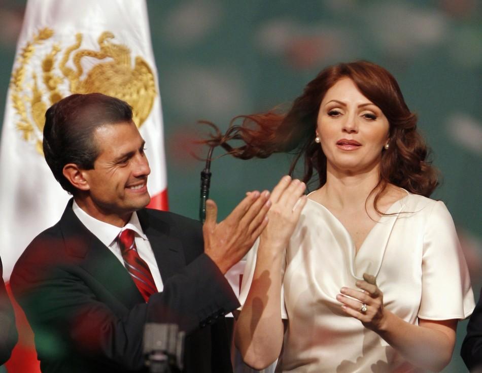 Enrique Pena Nieto celebrates triumph with wife Angelica Rivera