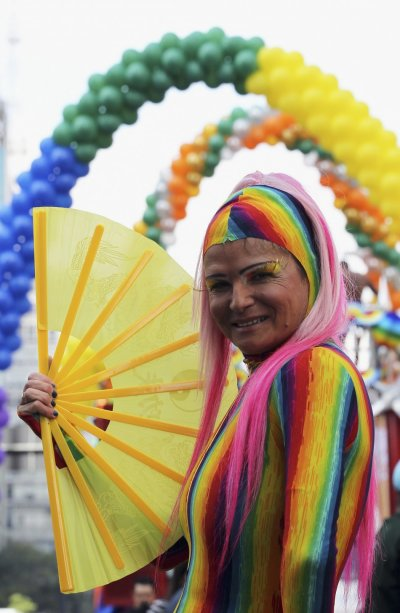 A participant parades during the 16th LGBT pride parade in Sao Paulo, Brazil