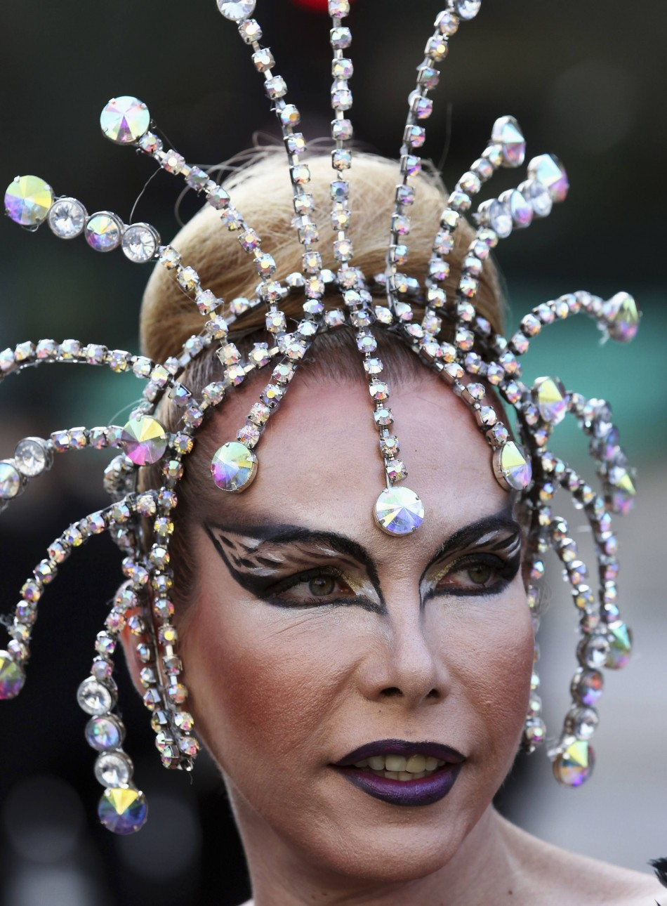 A participant parades during the 16th LGBT pride parade in Sao Paulo