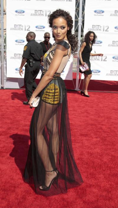Model Selita Ebanks arrives at the 2012 BET Awards in Los Angeles