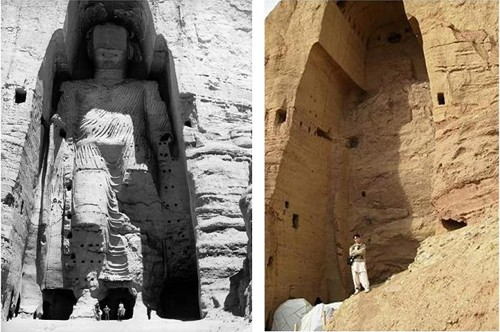 Two views of one of the Buddhas of Bamiyan in Afghanistan.