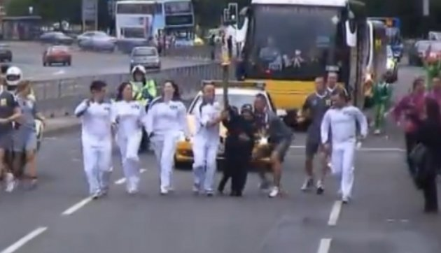 Two boys attemped to snatch the Olympic Torch in Sky Blue Way, Coventry city centre (BBC)