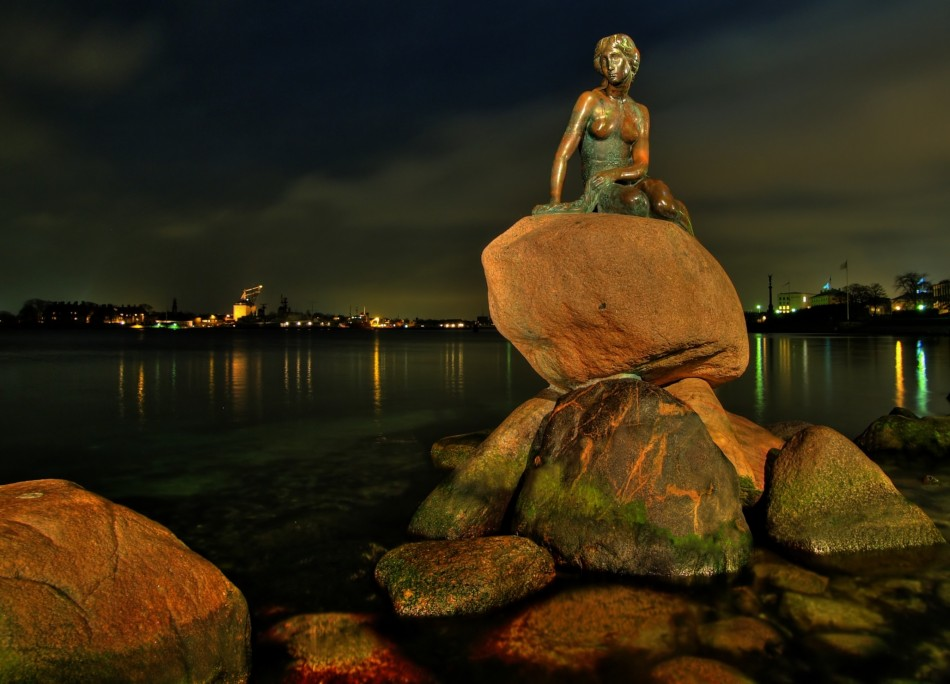 The Little Mermaid statue in Copenhagen, Denmark.