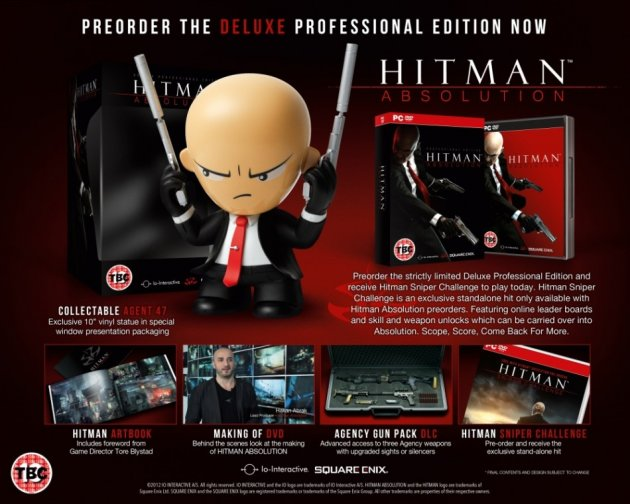Hitman Absolution Deluxe Professional Edition Agent 47 vinyl statue art book making of DVD Agency Gun-Pack DLC