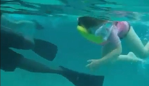 Anaia,5, Swims With Shark