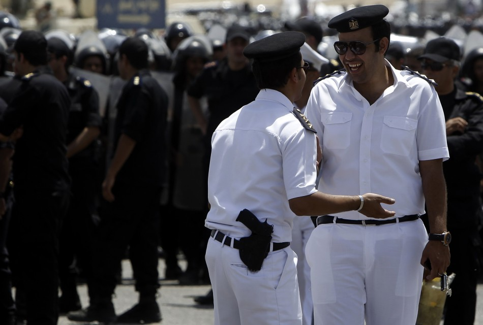 Clean-shaven Egyptian police officers