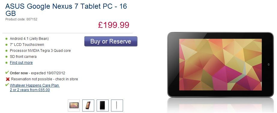 Google Nexus 7: Android 4.1 Jelly Bean Tablet Gets UK Release Date and Price