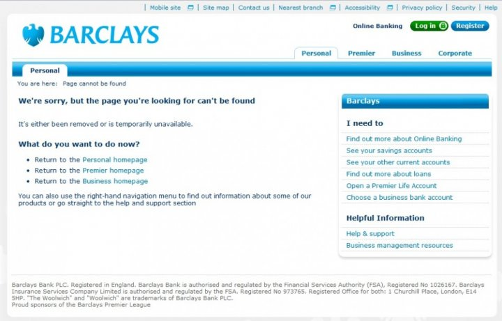 Barclays website down