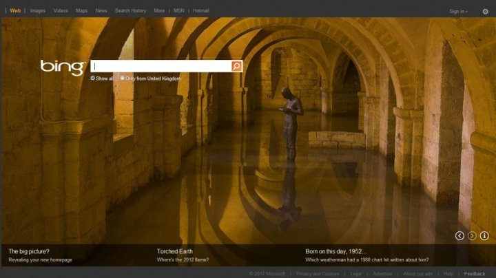 Microsoft Updates Bing Search Engine in the UK homepage