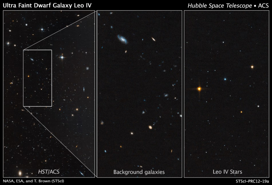Hubble images show the dim, star-starved dwarf galaxy Leo IV