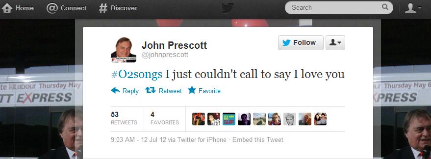John Prescott O2songs o2 service outage