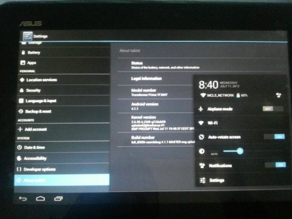 Android 4 1 1 Jelly Bean ROM Arrives on Asus Transformer Pad