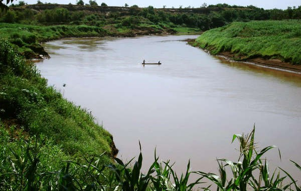 Omo River, Ethiopia, over which the controversial Gibe III dam is under construction.