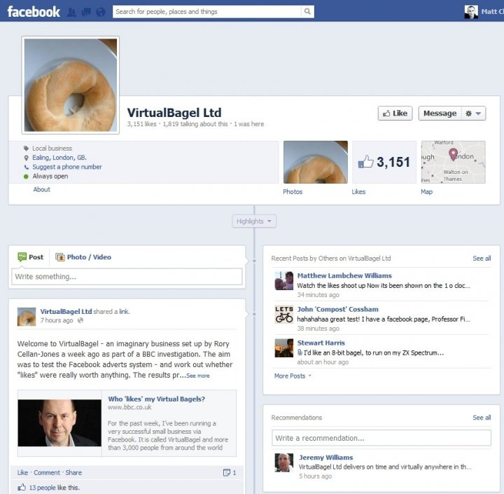 Virtualbagel Facebook Adverts Attract High Number of Fake User Likes