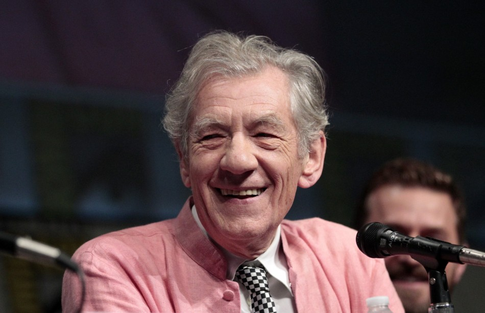 "McKellen smiles during a panel for ""The Hobbit: An Unexpected Journey"" during Comic Con International convention in San Diego"