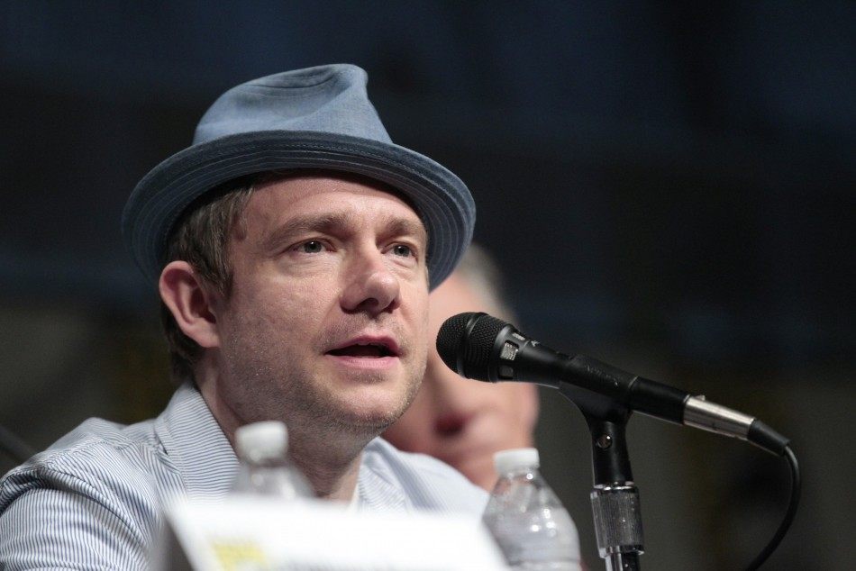 "Martin Freeman speaks during a panel for ""The Hobbit: An Unexpected Journey"" during Comic Con International convention in San Diego"