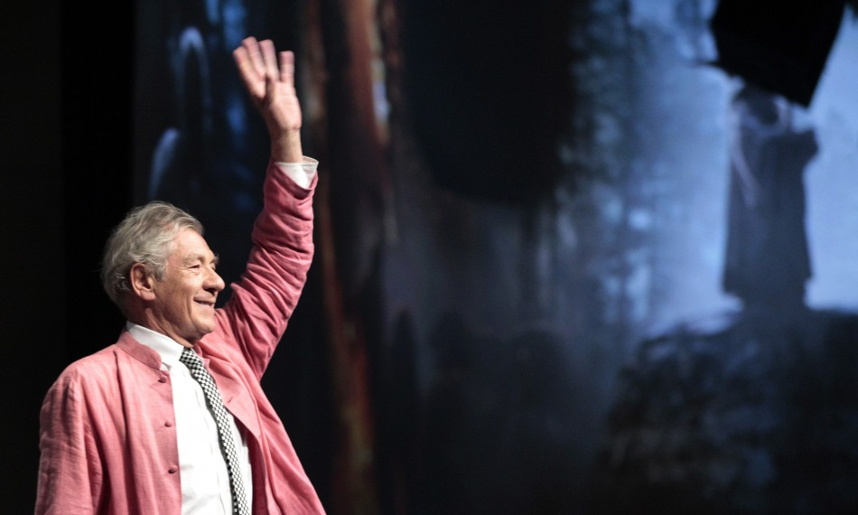 "McKellen waves at the beginning of a panel for ""The Hobbit: An Unexpected Journey"" during Comic Con International convention in San Diego"