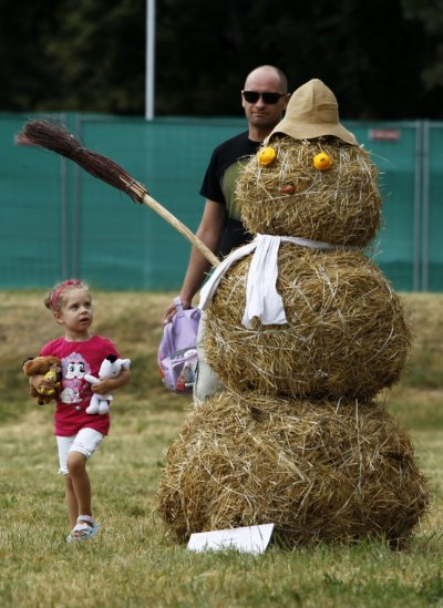 A straw art installation is displayed during the 7th Straw - Land Art Festival in Osijek