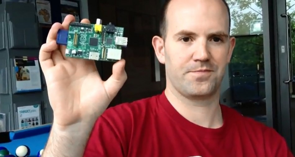 Eben Upton shows off the Raspberry Pi mini computer, which has shipped 200K and is now targeting sales in North America