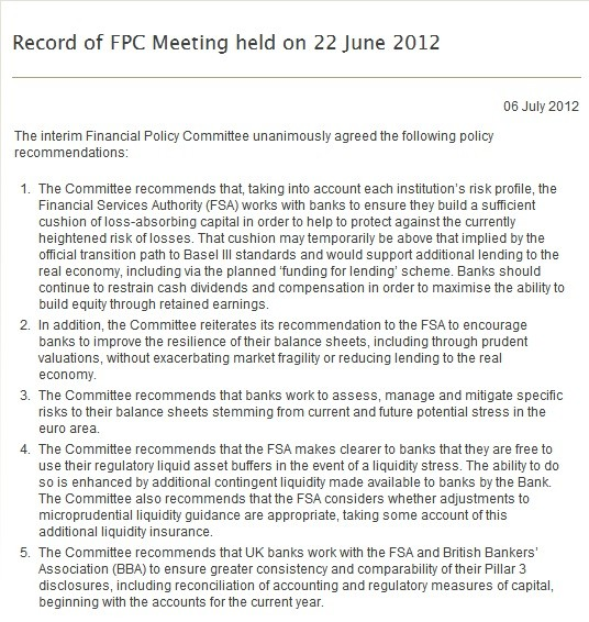 Bank of England King FPC