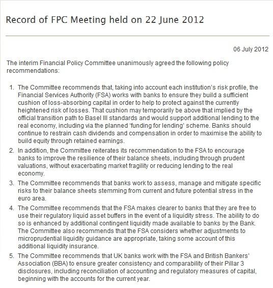 Bank of England King FPC
