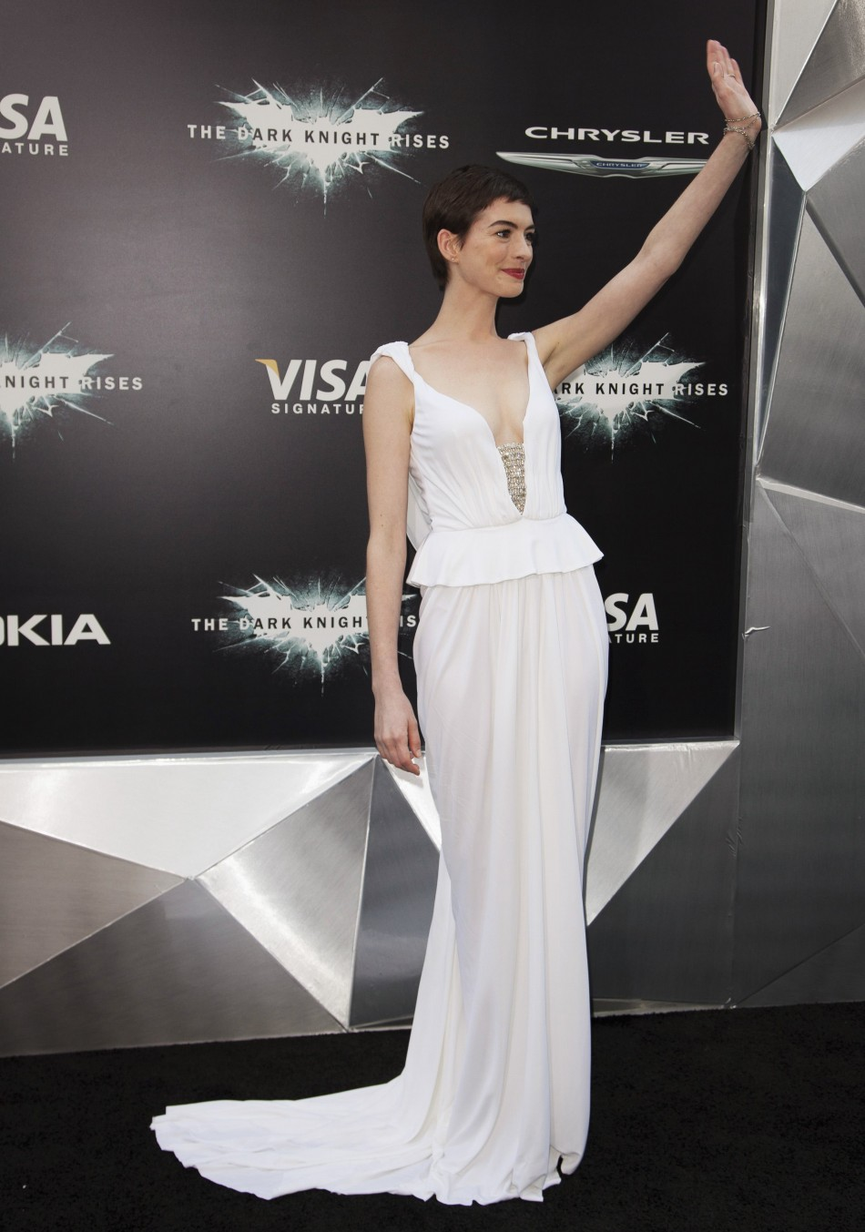 """Cast member Anne Hathaway attends the world premiere of the movie """"The Dark Knight Rises"""" in New York"""