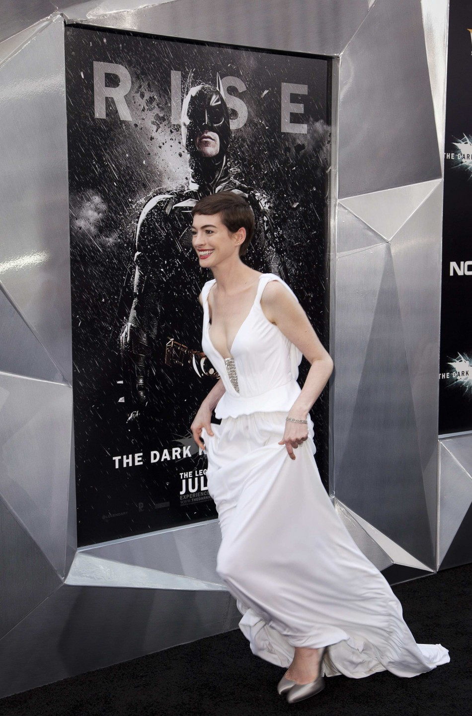 Cast member Anne Hathaway attends the world premiere of the movie quotThe Dark Knight Risesquot in New York