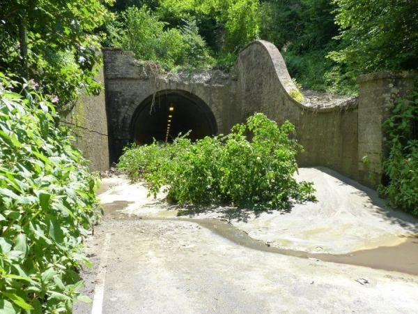 Beaminster tunnel closed following a landslide